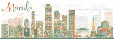 Vinilo Resumen Manila Skyline con edificios de color.
