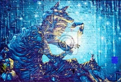 Vinilo Resumen mural Detalle de la pintada en la pared con textura