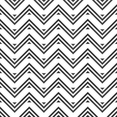 Vinilo Resumen patrón transparente de zigzag gris sobre fondo blanco