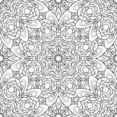 Vinilo Resumen vector decorativo mandala étnica patrón sin fisuras blanco y negro.