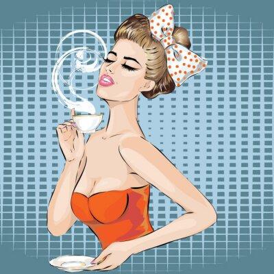 Vinilo Retrato de la mujer del arte pop con la taza de la mañana de té. Chica pin-up