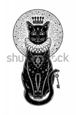 Vinilo Retrato de la silueta del gato negro con clave secreta en el fondo de la luna. Ideal fondo de Halloween, arte del tatuaje, diseño boho. Perfecto para imprimir, posters, camisetas, textiles. Ilustracio
