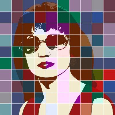 Vinilo Retrato de una mujer con el efecto de vitral