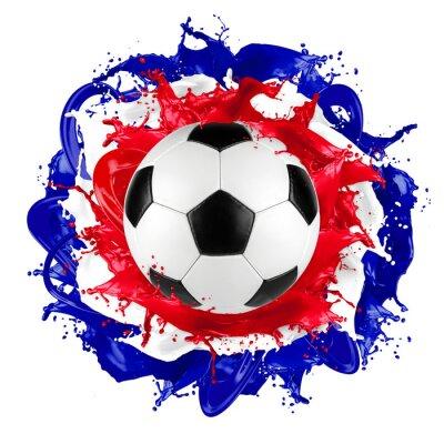 Vinilo Retro balón de fútbol francés bandera color salpicadura