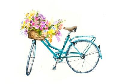 Vinilo Retro bicicleta azul con flores en la cesta de aislamiento blanco, acuarela dibujado a mano sobre papel