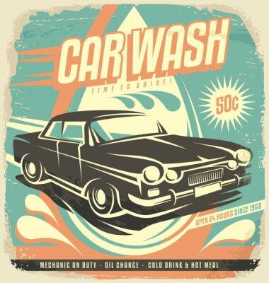 Vinilo Retro car wash poster design
