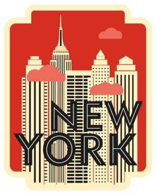 Vinilo Retro design poster New York. Skyscrapers and clouds. Vector drawing