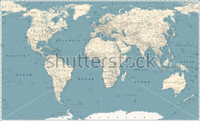 Vinilo Retro World Map and Main State Roads. Large Detailed World Map vector illustration.