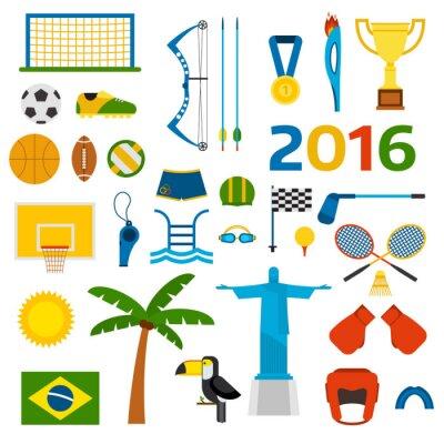 Vinilo Rio verano juegos olímpicos iconos ilustración vectorial