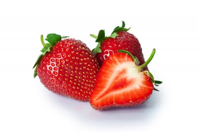 Vinilo Ripe strawberries on white background