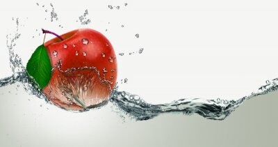 Vinilo Rojo, Manzana jugosa en un spray de agua.