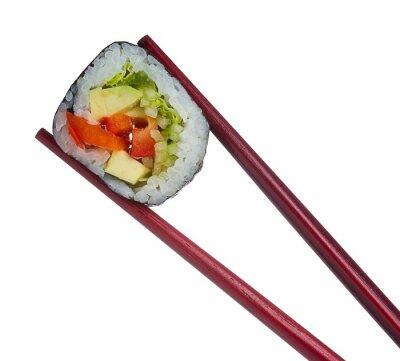 Vinilo Rollo de sushi en palillos aisladas sobre fondo blanco
