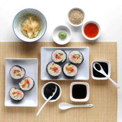 Vinilo Rollos de sushi, salsa de soja, jengibre y wasabi
