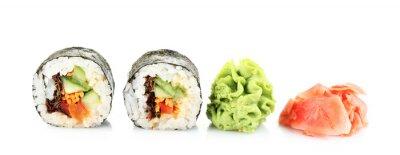 Vinilo Rollos de sushi vegetariana aislados en blanco