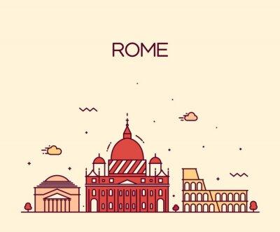 Vinilo Rome City skyline detailed vector line art style