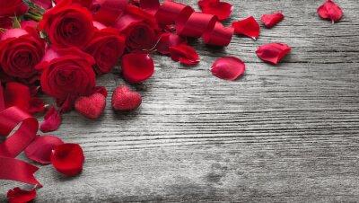 Vinilo Rosas en tabla de madera