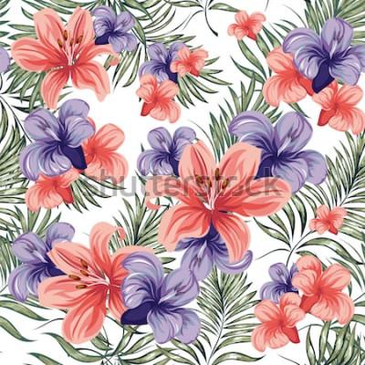 Vinilo Rosas Florece las plantas de flores de primavera-verano. Patrón sin costuras Imagen vectorial