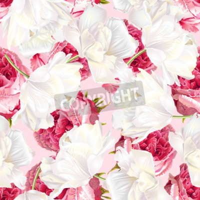 Vinilo Rose tulip seamless pattern