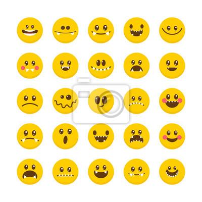 Rostro De Dibujos Animados Con Emociones Emoticon Iconos De Vinilos
