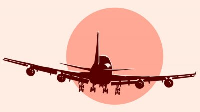 Vinilo Round logo illustration of flying airplane.