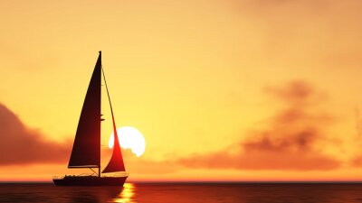 Vinilo sailboat and sunset