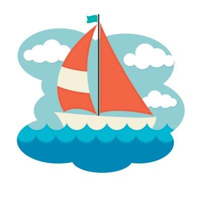 Vinilo Sailing Boat on Waves