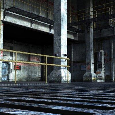 Vinilo Sala industrial del departamento técnico con puertas de hierro, columnas y elementos metálicos