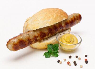 Vinilo Salchichas a la parrilla en un bollo de pan