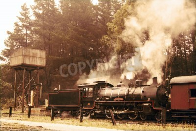Vinilo Saliendo tren de vapor en colores sepia
