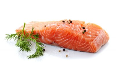 Vinilo salmón fresco y crudo