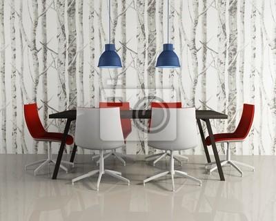 Salón-comedor de estilo moderno sillas rojas maderas wallpaper ...
