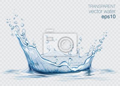 Vinilo Salpicaduras de agua transparente vector y onda sobre fondo claro