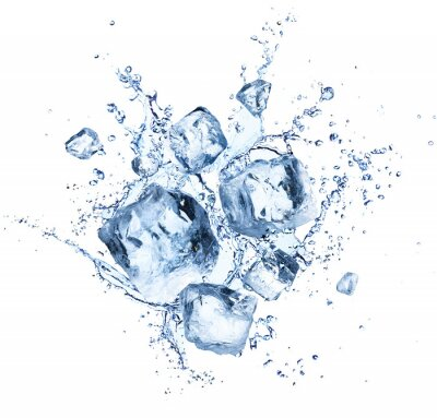 Vinilo Salpicaduras de cubitos de hielo: refrescantes cristales refrescantes con gotas de agua