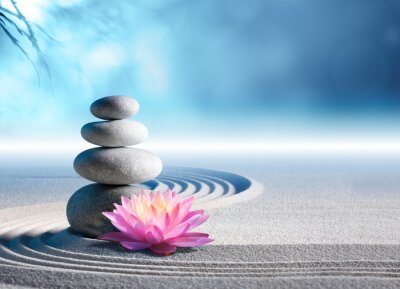 Vinilo sand, lily and spa stones in zen garden