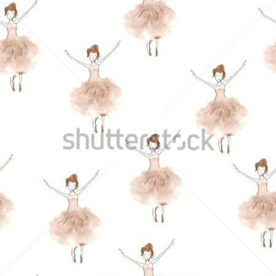 Vinilo Seamless background with watercolor elegant ballet dancers. Hand painted elements. Decorative pattern for web, wallpaper, textile, clothing, fabric, scrapbook, stationery, home decor.