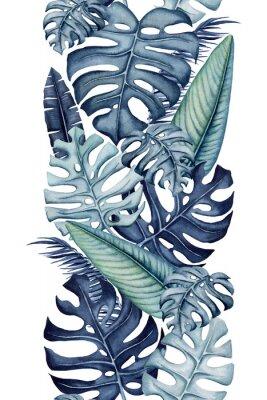 Vinilo Seamless Border of Watercolor Monstera and Banana Leaves