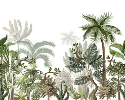 Vinilo Seamless border with tropical tree such as palm, banana, monstera. Vector.