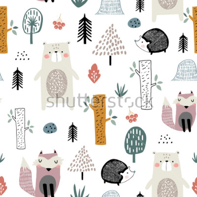 Vinilo Seamless childish pattern with cute bear, fox, hedgehogs in the wood. Creative kids scandinavian style texture for fabric, wrapping, textile, wallpaper, apparel. Vector illustration