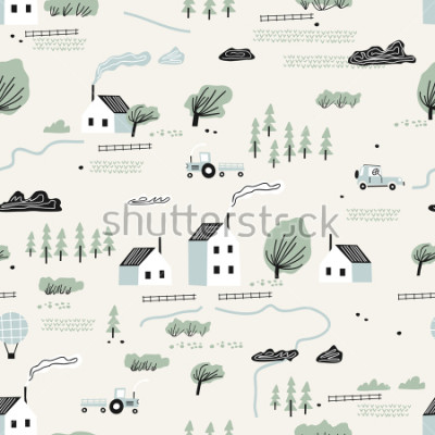 Vinilo seamless colorful pattern with house,trees and mountains. Nordic nature landscape concept. Perfect for kids fabric, textile, nursery wallpaper.