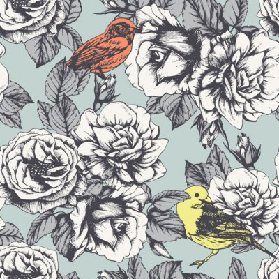 Vinilo Seamless floral pattern with hand-drawn roses and birds. Vector
