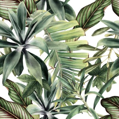 Vinilo Seamless floral pattern with tropical piants, watercolor.