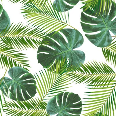 Vinilo Seamless leaft pattern background for decoration and ornament.