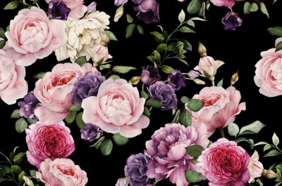 Vinilo Seamless patrón floral con rosas, acuarela