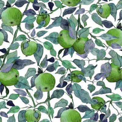 Vinilo seamless pattern apple tree branch with green apples watercolor stylized illustration