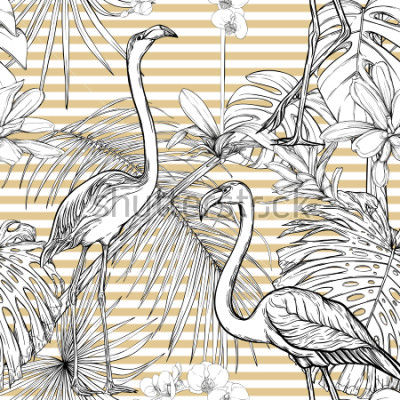 Vinilo Seamless pattern, background. with tropical plants and flowers with white orchid and tropical birds. Graphic drawing, engraving style. vector illustration. Black and white on beige and white stripes.