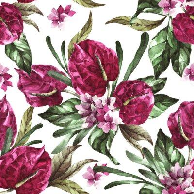 Vinilo seamless pattern burgundy flowers