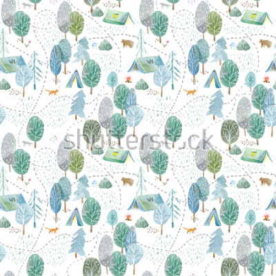 Vinilo Seamless pattern of a camping,road,fox,wolf,bear in the woods.Tent, trees, bonfire, plants and floral.Landscape tourism.Watercolor hand drawn illustration.White background.