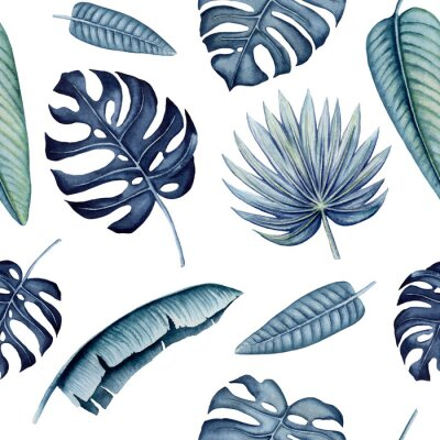 Vinilo Seamless Pattern of Watercolor Tropical Leaves