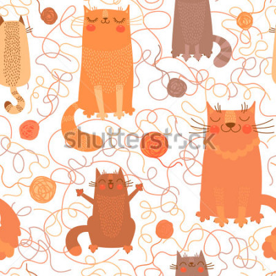 Vinilo Seamless pattern with cute cats and balls of yarn. Vector illustration.