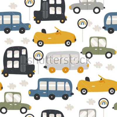 Vinilo Seamless pattern with funny cars. Fashion kids print. Vector hand drawn illustration.